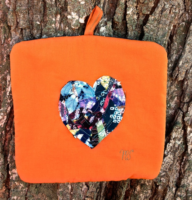 Win this Heart of Shibori  Scraps Potholder